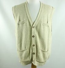 Orvis Mens L Large Cable Knit Sweater Cardigan Cream V Neck Top Jacket Pullover