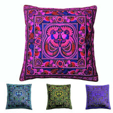2X Embroidered Cushion Covers, Silk Cotton Cases, Purple, Pink, Green, Blue