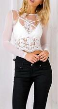 White Sheer Mesh Scallop Lace Long Sleeve Scoop Neck Fitted Blouse Pretty NWT