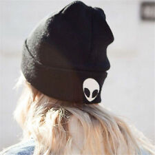 Unisex Women Winter Knitted Wool Hat Slouch Embroidery Ghost Head Hat Warm Cap