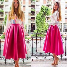 New Fashion Women Swing High Waist Flared Skater Pleated A Line Midi Skirt EA77