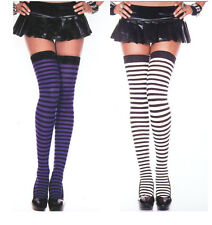 4741 Stockings Striped Opaque Thigh Highs O/S Reg Black White or Purple Stripes
