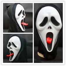 Cosplay Long tongue Scream Ghost Scary Pale Face Mask Halloween Party Costume