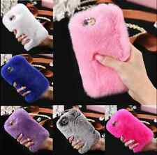 Luxury Bling Crystal Case Warm Soft Fluffy Rabbit Fur Cover for iPhone 6s 7 Plus