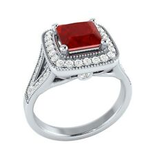 1.50 ct Red Ruby & White Sapphire Solid Gold Wedding Engagement Ring