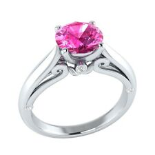 1.05 ct Pink Sapphire & White Sapphire Solid Gold Wedding Engagement Ring