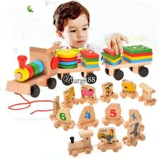 Stacking Train Wooden Toys Baby Kid Building Blocks Geometric Stacker CaF UTAR