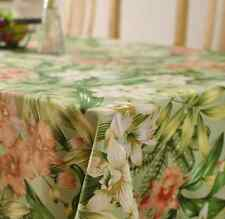 Elegant Floral Green Home Dinning Coffee Table Cotton Linen Cloth Covering La