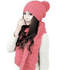Winter Fashion  Women Thicken Warm Knit Hat Scarf Wool Scarf Suit Two Sets