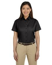 Harriton Button Up Shirt Top Ladies' Short-Sleeve Twill Stain-Release M500SW NEW