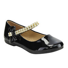 LINK Girl's Pearl Bowknot Mary Jane Strap Princes Flat Shoes CUTEY-56K BLACK