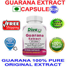 Guarana Extract 500 mg Capsules for Herbal Dietary Supplement by Divayo Naturals
