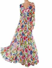 Vintage Style Chiffon Bohemian Pleated Wrap Long Maxi Full-Skirted Floral Dress