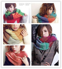 Women Cool Winter Warm 2 Circle Cable Knit Cowl Neck Long Scarf Shawl
