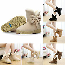 Casual Women Faux Suede Fur Winter Warm Martin Snow Boots Flat Ankle Solid Shoes
