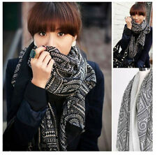 Lady Women Vintage Long Soft Cotton Voile Printed Scarves Shawl Wrap Scarf New