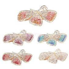 Women Fashion Vintage Full Colorful Rhinestone Butterfly Hair Barrette Clip