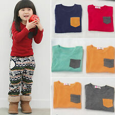 Autumn Winter Kids Baby Boy Girls Long Sleeve T Shirt Pocket Shirt Tops Pullover