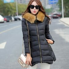 Fashion Women's Faux Fur Collar Casual Coat long Slim Thick Warm Overcoat Jacket