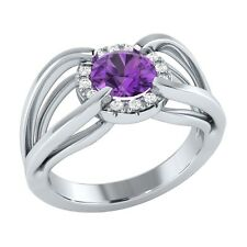 0.70 ct Purple Amethyst & White Sapphire Solid Gold Wedding Engagement Ring