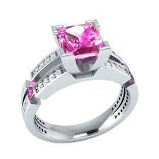 2.30 ct Pink Sapphire & White Sapphire Solid Gold Wedding Engagement Ring