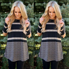 Womens Long Sleeve Striped Shirt Tops Casual Loose Blouse T-Shirt Mini Dress