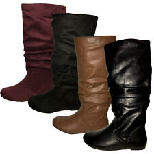 Womens Round Toe Winter Comfort Casual Slouchy Knee High Flat Boots Faux Suede
