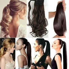 Real Thick Clip In as human Hair Extension Pony Tail Wrap Around Ponytail Hair