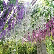 12x Artificial Silk Wisteria Fake Garden Hanging Flowers Vines Wedding Decor