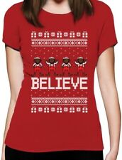 Believe Black Santa Elves Ugly Christmas Sweater Women T-Shirt Funny Xmas Gift