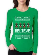Believe Black Santa Elves Ugly Christmas Sweater Women Long Sleeve T-Shirt Funny