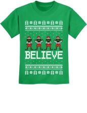 Believe Black Santa Elves Ugly Christmas Sweater Youth Kids T-Shirt Funny Xmas