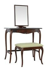 BRITISH MADE. Dressing table set with large stool, in an Antique Redwood finish