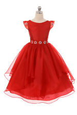 New Flower Girls Red Organza Dress Christmas Wedding Formal Party Holidays 348