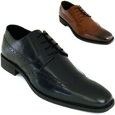 Mens Wing Tip Oxfords Lace Up Leather Comfort Brogue Medallion Casual Dress Shoe