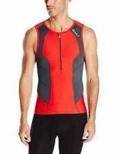 2XU Mens Perform Tri Singlet Sleeveless Frot Zip Triathlon Top Neon Red/Charcoal