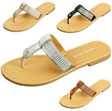 Women's Rhinestone Sandals T-Strap Thongs Slip On Flats Fashion Flip Flop Shoes