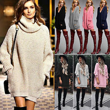 Sexy Womens Long Sleeve Knitted Sweater Mini Dress Oversized Pullover Jumper
