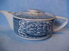 Currier & Ives BLUE & WHITE Ship Teapot, Sail Boat & Light House