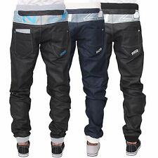 New ENZO Mens Designer Ribbed Cuffed Jogger Denim Coated Jeans All Waist Sizes