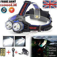 11000LM 2X XML T6 LED Headlamp Headlight Light Head Torch + Charger+ Battery Set