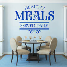 Healthy Meals Served Daily Quote Dining Room Wall Stickers Home Decor Art Decals