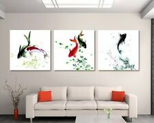 High-quality Modern Animal Wall Art Koi Fish Oil Painting on Canvas 3pcs