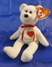 """TY """"VALENTINO"""" A WHITE BEAR BEANIE BABY WITH TUSH & SWING TAG (No TAG PROTECTOR)"""