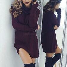 Sexy Women Long Sleeve Turtleneck Knitted Sweater Bodycon Party Mini Dress NEW