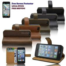 Elegant Smart PU Leather Stand Case Cover Wallet for iPhone 5 5s with Protector