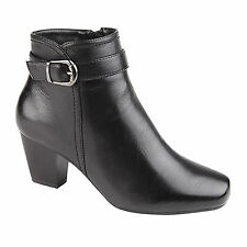 Ladies New Black Inside Zip Mid Heeled Ankle Boots With Silver Buckle UK 3 - 8
