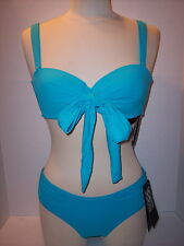 NWT Coco Reef Size 32/34C Cup Bra Top + Size S Shirred Brief Swimsuit Sea Blue