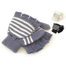 BOYS GIRLS KIDS 2-IN-1 STRIPED MAGIC COMBI MITTENS GLOVES HAND WARMERS ONE SIZE