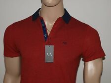 Armani Exchange Authentic Contrast Collar Stretch Polo Shirt Fiery Red NWT